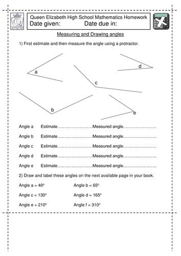 Printables Drawing Angles Worksheet ks3 maths measure and draw angles worksheet by jlcaseyuk teaching resources tes