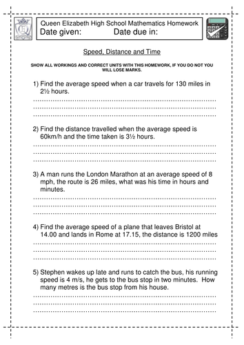 Speed, Distance and Time worksheet by jlcaseyuk - Teaching Resources ...