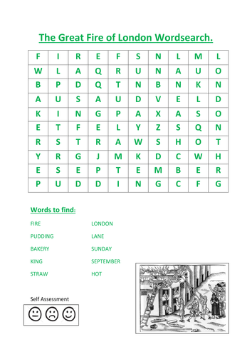 The Great Fire Of London Word Search By Kayld Teaching