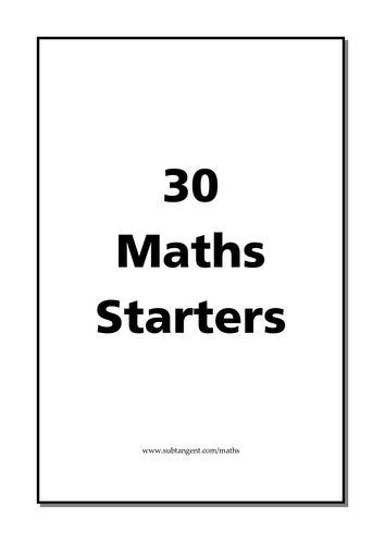 30 Maths Puzzles Lesson Starters