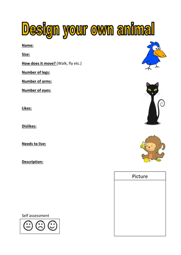 Make Your Own Name Worksheet : Design your own animal activity by kayld teaching