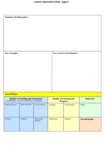 lesson planning / observation help