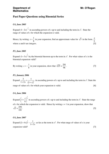 Advanced pure teaching resources: Binomial expansion | TES