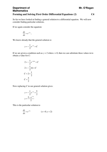 KS5/Core 4/C4: First Order Differential Equations by chuckieirish ...