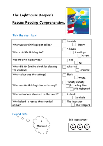The lighthouse keeper reading comprehension
