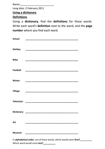 dictionary worksheet by michaelgrange teaching resources tes. Black Bedroom Furniture Sets. Home Design Ideas
