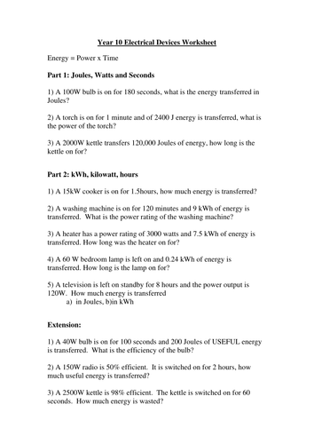 Worksheets Energy Work And Power Worksheet Answer Key electrical power worksheet by hopephilippa teaching resources tes worksheet