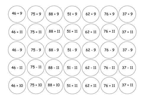 CONNECT 4 add subtract 10 11 and 9 by gepocock Teaching – Subtracting 9 and 11 Worksheets