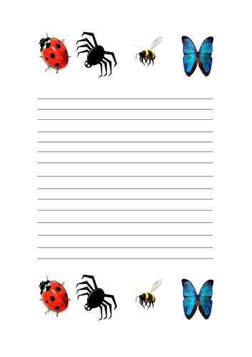 Mini beast writing paper | Teaching Resources