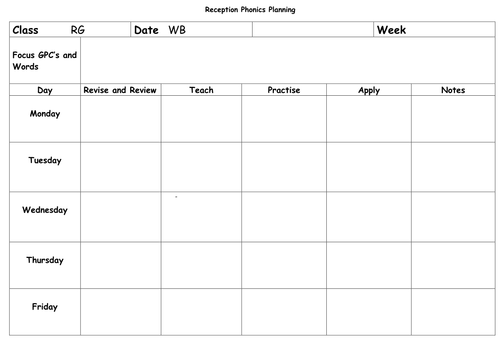 phonics weekly planning sheet blank by hyssop puppy teaching