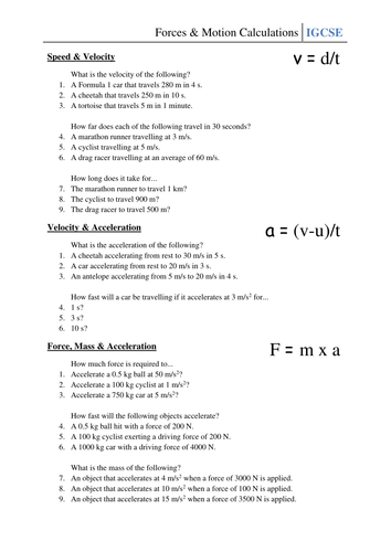 Worksheet Forces Motion Calculations By Csnewin Teaching