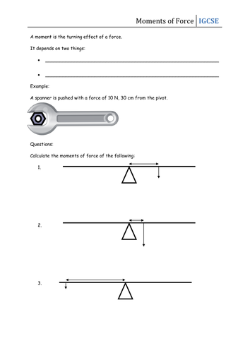 Worksheet - Moments of Force