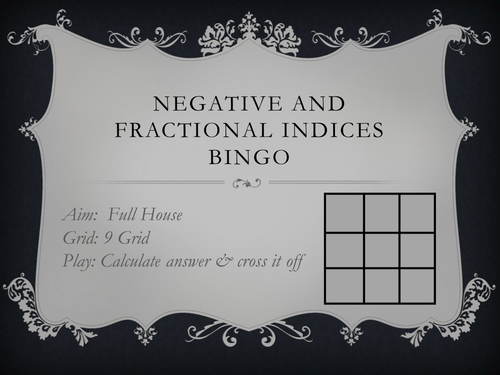 Negative and Fractional Indices Bingo Game