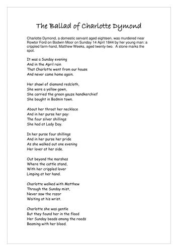 the ballad of charlotte dymond