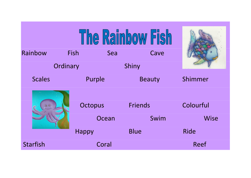 The rainbow fish word reference mat | Teaching Resources