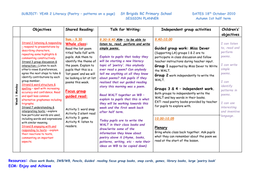 y2 poetry lesson plans for week 1 by kayld teaching resources. Black Bedroom Furniture Sets. Home Design Ideas