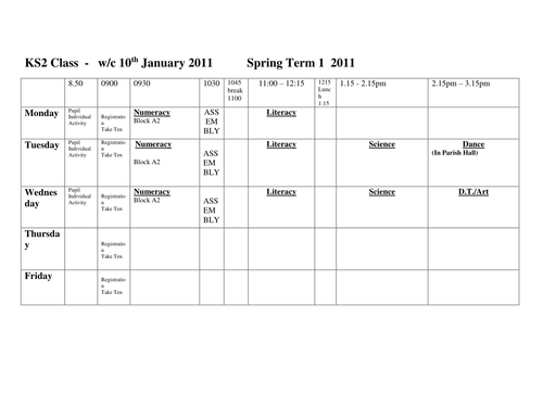BLANK WEEK TIMETABLE by emmer88beetle Teaching Resources Tes – Timetable Template School