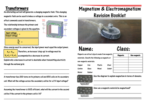 IGCSE Electromagnetism Revision Booklet by CSnewin Teaching – Electromagnetism Worksheet