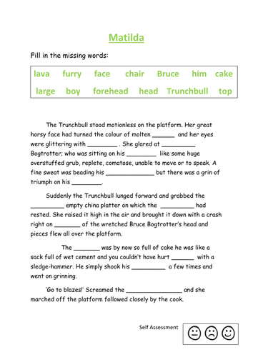 Matilda fill in the missing words activity