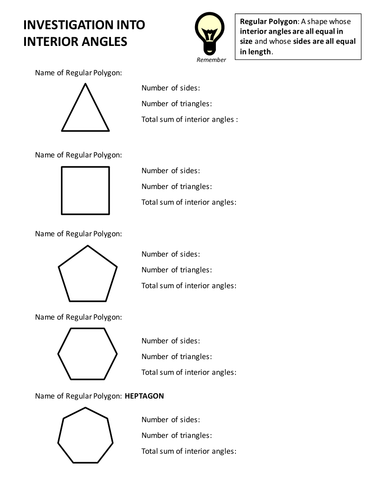 Ks3 Maths Investigation Into Interior Angles By Abhishekshah Teaching Resources Tes