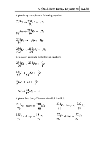 Worksheet - Decay Equations by CSnewin - Teaching Resources - Tes
