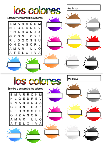 Spanish colours wordsearch by Geekie - Teaching Resources - TES