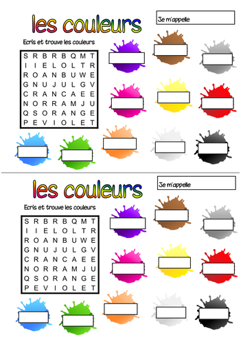 French colours wordsearch by Geekie - Teaching Resources - TES