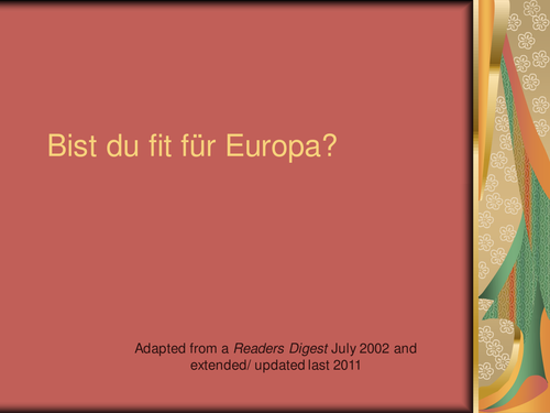 Bist du fit fur Europa?