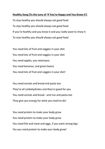 Healthy Eating Song by nessie77 - Teaching Resources - Tes