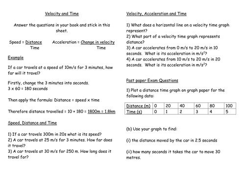 Velocity, distance and time questions