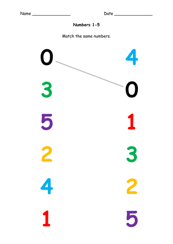 Match Numbers 1 5 By Deb1 Teaching Resources Tes