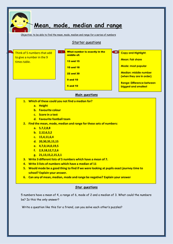 Mean,mode,median and range worksheet by bcooper87 - Teaching ...