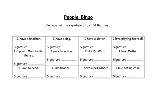 Meeting your new class - People Bingo by pumpkinsoup88 - Teaching ...