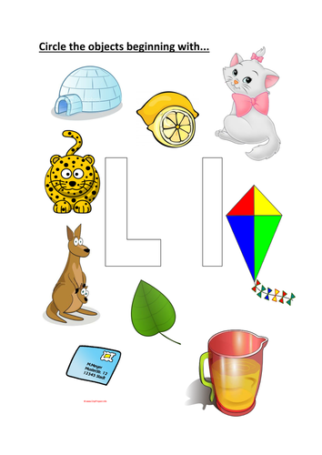 circle objects that start with the letter l by kayld - teaching