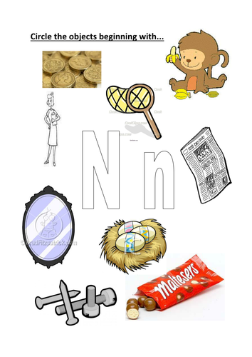 circle the objects beginning with N/n by kayld | Teaching Resources