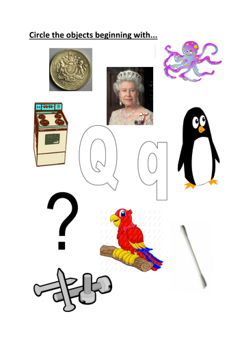 circle objects starting with Q/q | Teaching Resources