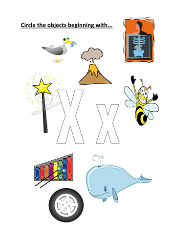 Worksheets Pictures That Start With X circle objects that start with xx by kayld teaching resources tes