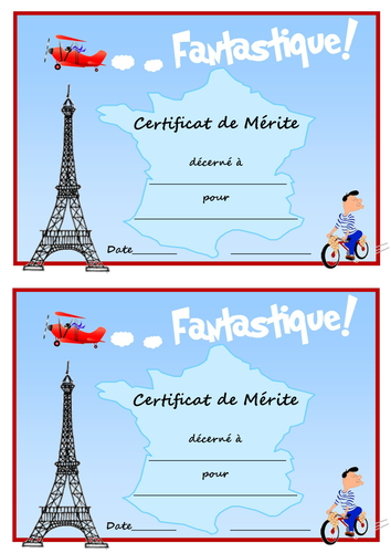 Merit certs in French, Spanish, German & Italian by ...