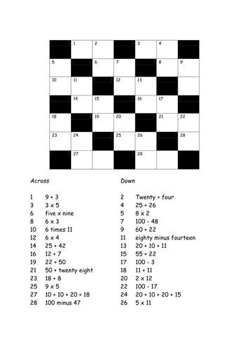 Numerical Crossword By Bjj12