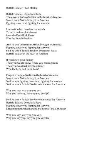 Buffalo Soldier Chords And Lyrics By Smcsweeney Teaching