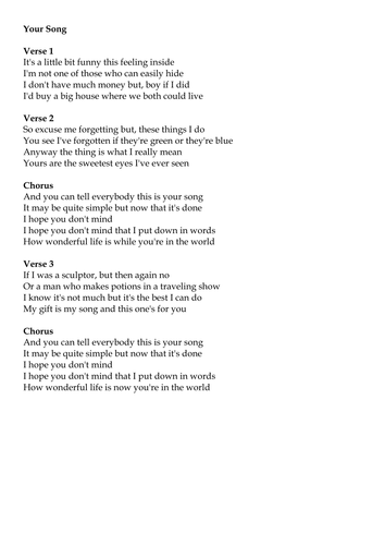 Your Song Ellie Goulding Version Chords Lyrics