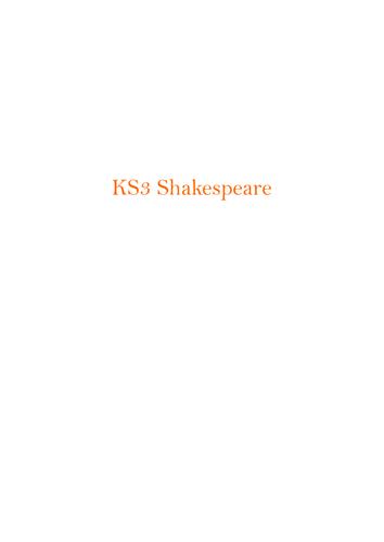 KS3 Shakespeare Scheme of Work: Overview