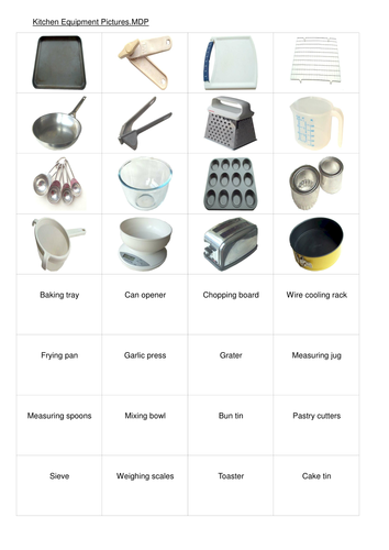 Free Printable Worksheets On Kitchen Utensils