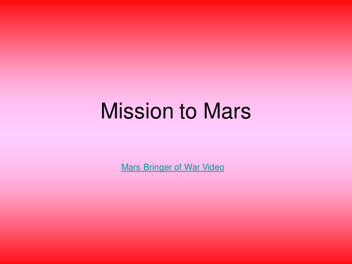 KS3 / GCSE Cross Curricular - Mission to Mars
