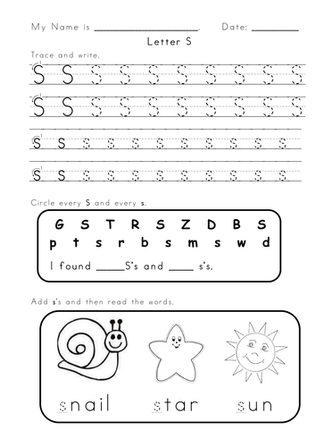 Letter S And A Worksheets By Vigunya Teaching Resources Tes
