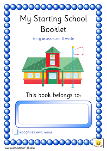 Book Cover Template Tes : School entry assessment booklet by bevevans teaching