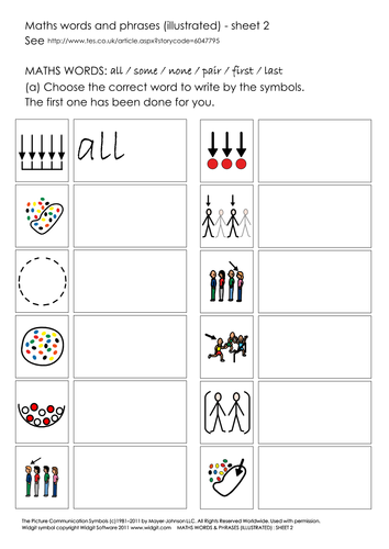 Maths concept words and phrases - worksheets