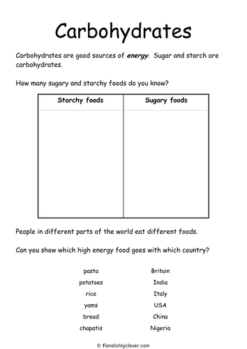 Carbohydrates by fiendishlyclever | Teaching Resources