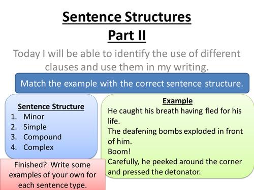 Sentence Structures & Punctuation lessons