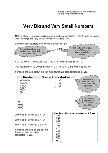 GCSE Standard Form Worksheets by eugenesmith - Teaching Resources - Tes